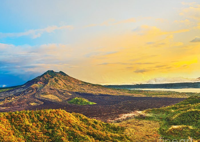 Volcano Greeting Card featuring the photograph Volcano Batur by MotHaiBaPhoto Prints