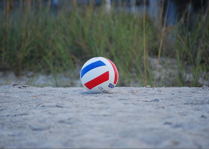 Beach Greeting Card featuring the photograph Volleyball On The Beach by Carrie Munoz