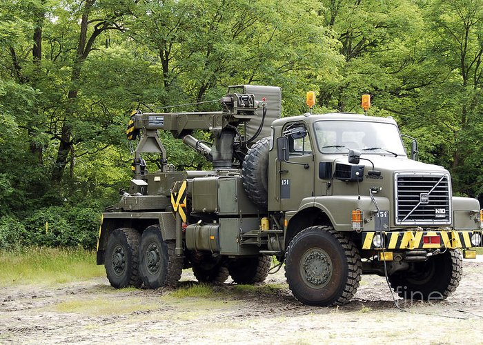 Belgium Greeting Card featuring the photograph Volvo N10 Truck Crane Of The Belgian by Luc De Jaeger