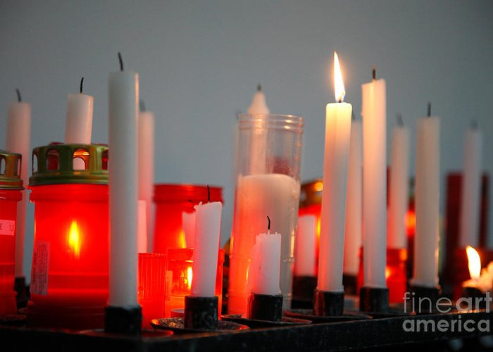 Candles Greeting Card featuring the photograph Votive Candles by Gaspar Avila