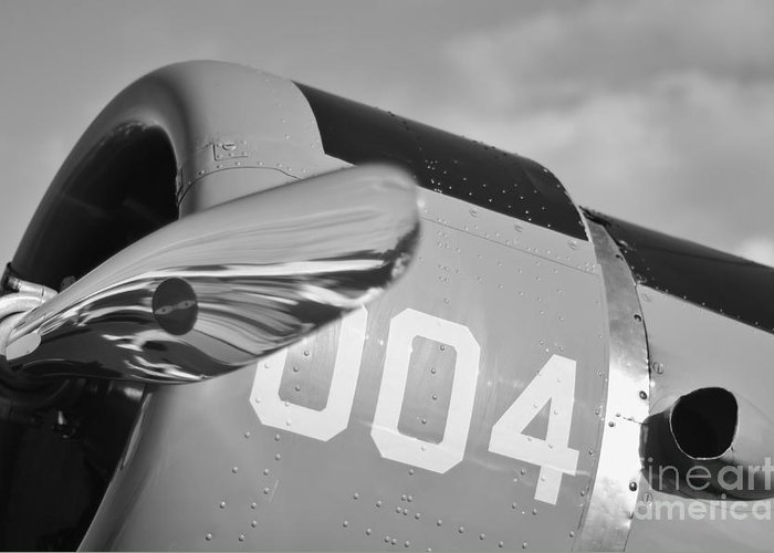 Vultee Bt-13 Valiant Greeting Card featuring the photograph Vultee Bt-13 Valiant In Bw by Lynda Dawson-Youngclaus