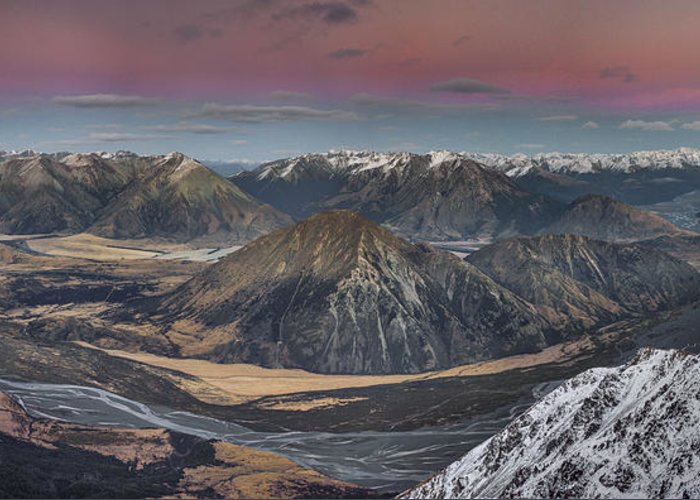 00486212 Greeting Card featuring the photograph Waimakariri River Basin In Predawn by Colin Monteath