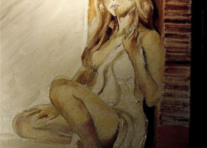 Portrait Greeting Card featuring the painting Waiting 2 by James Henderson