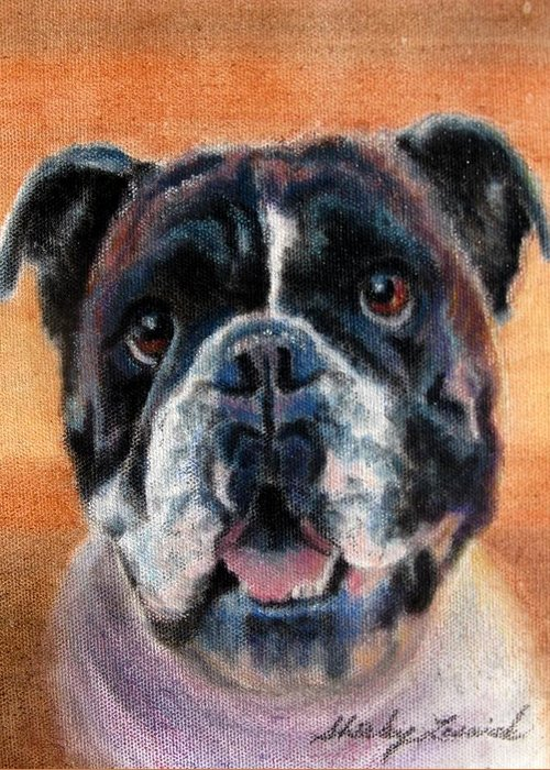 Dog Greeting Card featuring the painting Waiting For Dinner by Shirley Leswick