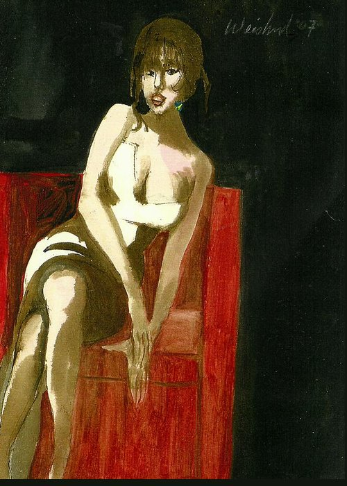 Female Greeting Card featuring the painting Waiting For Mr Right 3d by Harry WEISBURD