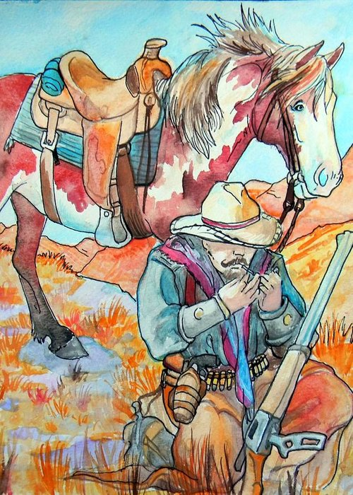 Cowboy Greeting Card featuring the painting Waiting For Sunset by Jenn Cunningham