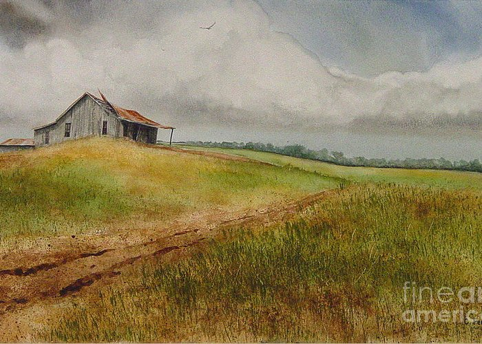 Country Greeting Card featuring the painting Waiting For The Summers Rain by Charles Fennen