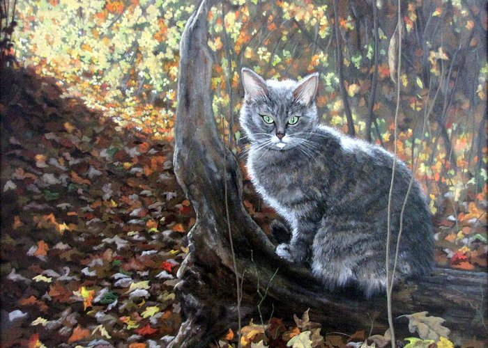 Kitten Greeting Card featuring the painting Waiting In The Woods by Sandra Chase