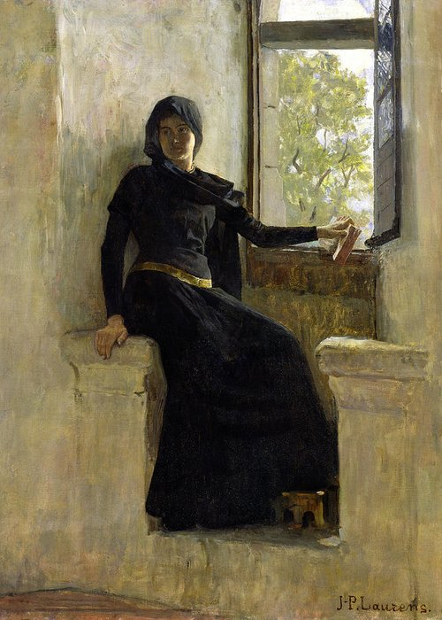 Female; Window; Seated; Black Dress; Medieval Costume; Portrait; Siege Greeting Card featuring the painting Waiting by Jean Pierre Laurens