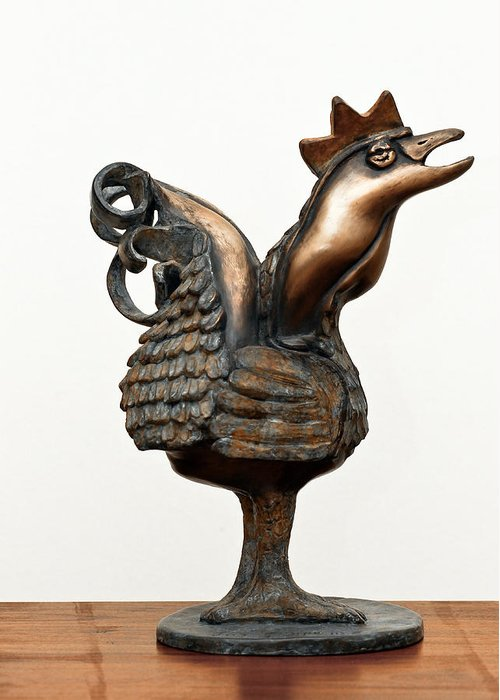 Wakeup Greeting Card featuring the sculpture Wakeup Call Rooster Image 2 Bronze Sculpture With Beak Feathers Tail Brass And Opaque Surface by Rachel Hershkovitz
