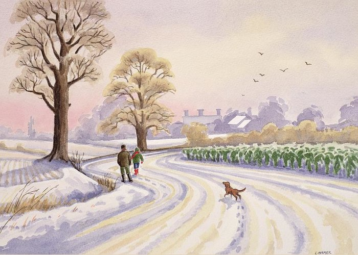 Landscape; Field; Tree; Trees; Bush; Bushes; Snow; Snow Covered; Winter; Winter Time; Road; Dog; People; Man; Child; Walking; Walk; Crop; Crops; Bird; Birds; Flying; House; Houses; Roof; Roofs; Foot Print; Foot Prints Greeting Card featuring the painting Walk In The Snow by Lavinia Hamer