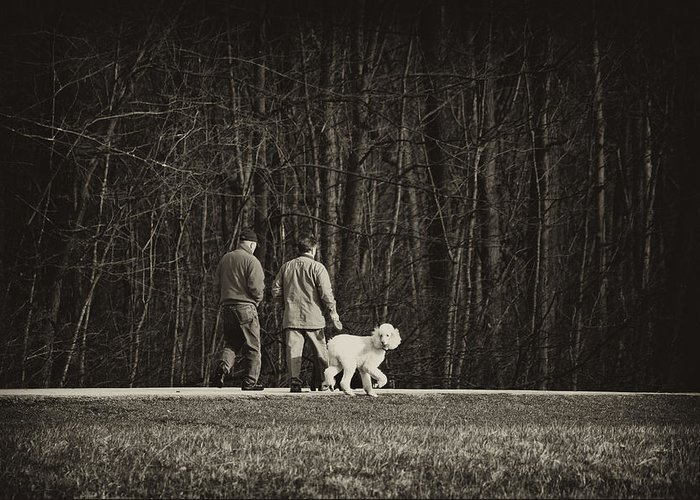 Friends Greeting Card featuring the photograph Walking The Dog by Off The Beaten Path Photography - Andrew Alexander