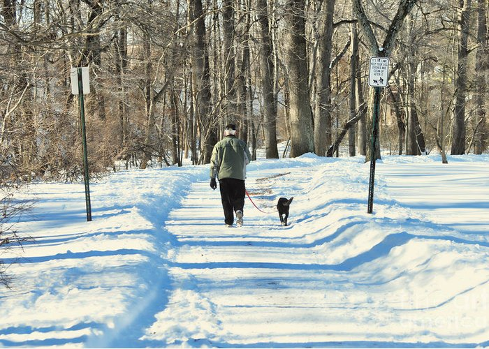 Winter Greeting Card featuring the photograph Walking The Dog by Paul Ward