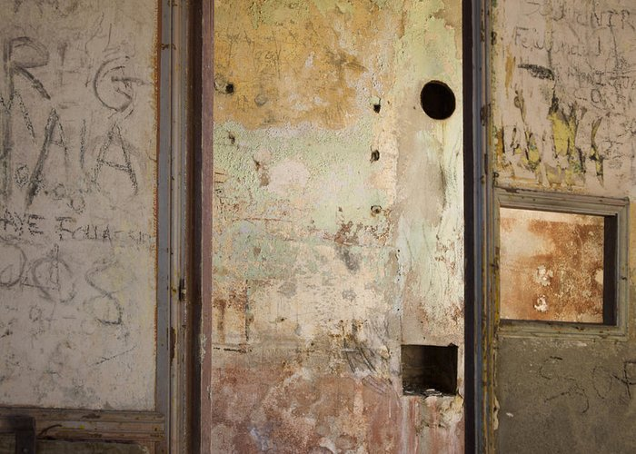 Indoors Greeting Card featuring the photograph Walls With Graffiti In An Abandoned House. by Bernard Jaubert