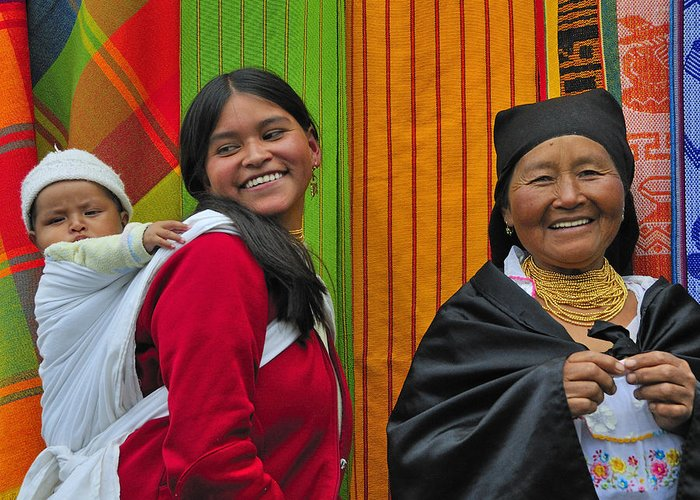 Otavalo Greeting Card featuring the photograph Wandering Through The Market by Tony Beck