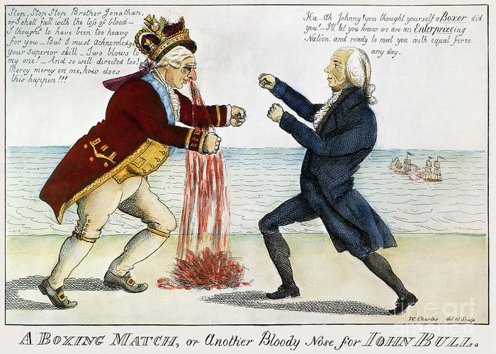 1813 Greeting Card featuring the photograph War Of 1812: Cartoon, 1813 by Granger