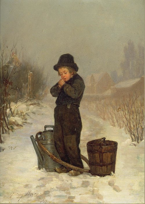 Child; Boy; Male; Snow; Cold; Snowy; Frozen; Buckets; Bucket; Pail; Pails; Winter; Landscape; Victorian; Collecting Water Greeting Card featuring the painting Warming His Hands by Henry Bacon