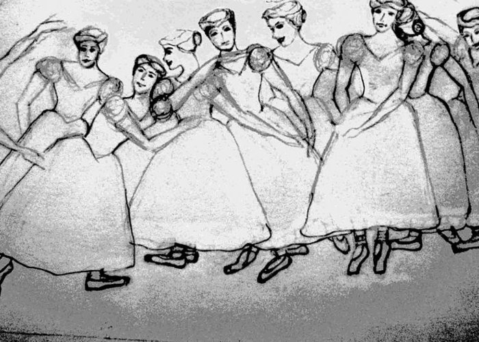 Girls Greeting Card featuring the drawing Warming Up - The Ballet Chorus by Forartsake Studio
