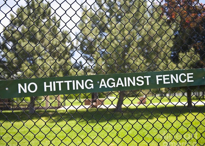 Baseball Greeting Card featuring the photograph Warning Sign On Chain Fence by Thom Gourley/Flatbread Images, LLC