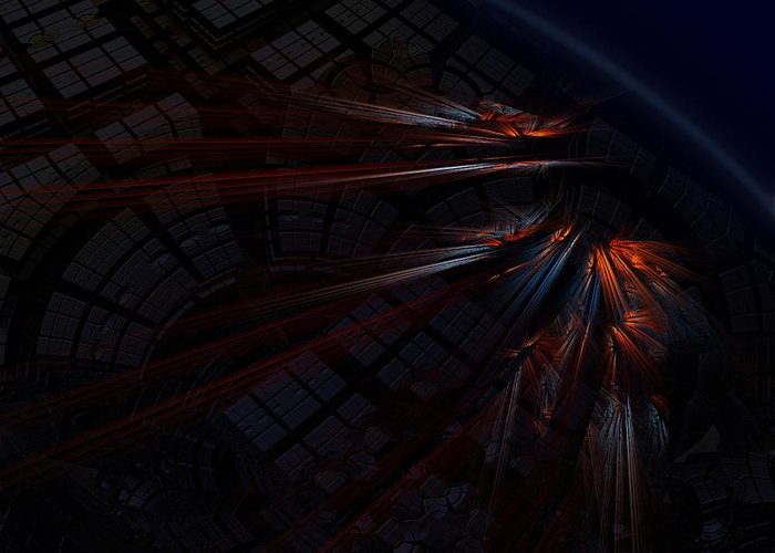 Fractal Greeting Card featuring the digital art Warp 8 by Nafets Nuarb