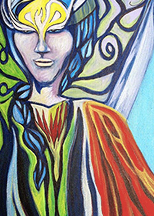 Warrior Greeting Card featuring the painting Warrior by Laura Salazar