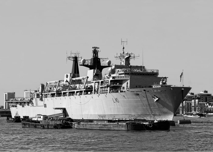 Warship Greeting Card featuring the photograph Warship Hms Bulwark by Jasna Buncic