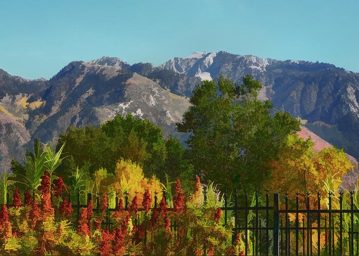 Wasatch Mountains Greeting Card featuring the painting Wasatch Mountains In Autumn Painting by Tracie Kaska
