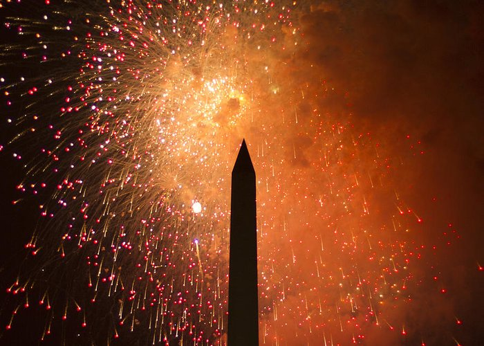 Fireworks Greeting Card featuring the photograph Washington Monument And Fireworks I by Phil Bolles