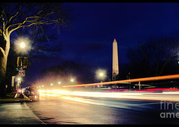 Washington Monument Greeting Card featuring the photograph Washington Monument On A Rainy Rush Hour by Jim Moore
