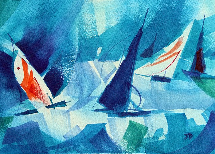 Sailboat Abstract Greeting Card featuring the painting Watch Those Whitecaps. by Josh Chilton