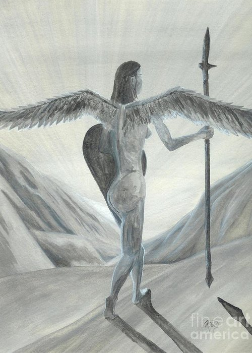 Angel Greeting Card featuring the painting Watching... Waiting... by Robert Meszaros