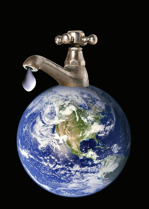 Earth Greeting Card featuring the photograph Water Conservation, Conceptual Image by Victor De Schwanberg