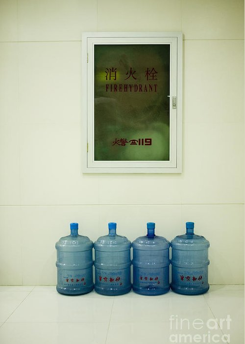 Blue Greeting Card featuring the photograph Water Cooler Bottles And Fire Hydrant Cabinet by Andersen Ross