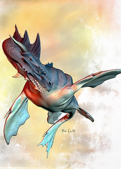 Dragons Greeting Card featuring the digital art Water Dragon by Bob Orsillo
