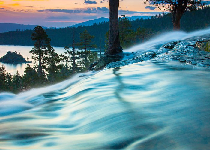 Landscape Greeting Card featuring the photograph Water Flow Above Emerald Bay by Marc Crumpler