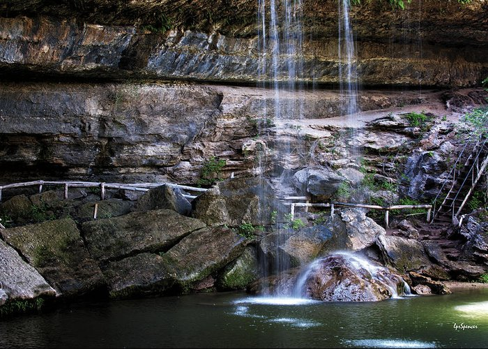 Water Greeting Card featuring the photograph Water Flow Over A Rock At Hamilton Pool by Lisa Spencer