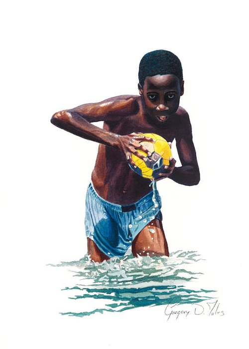 Boy Greeting Card featuring the painting Water Game by Gregory Jules