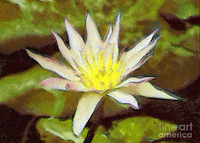 Water Lily Greeting Card featuring the painting Water Lily by Odon Czintos
