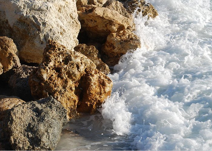 Beach Greeting Card featuring the photograph Water On The Rocks by Carrie Munoz