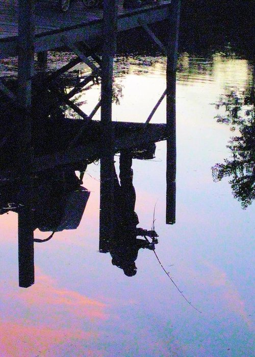 Water Greeting Card featuring the photograph Water Reflection Of A Fisherman by Judy Via-Wolff