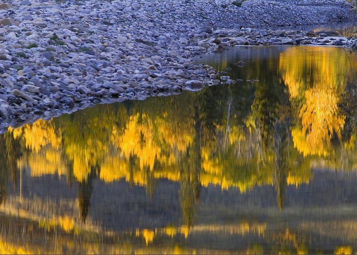 Autumn Greeting Card featuring the photograph Water Reflections With A Rocky Shoreline by Carson Ganci
