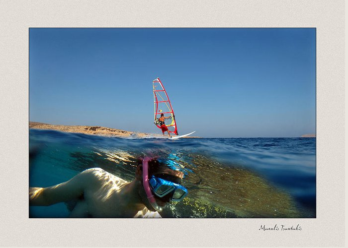 Underwater Greeting Card featuring the photograph Water Sports by Manolis Tsantakis