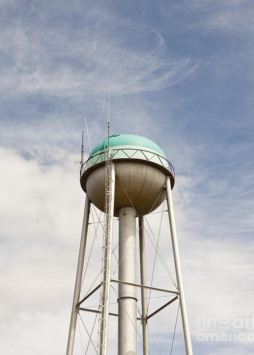 Americana Greeting Card featuring the photograph Water Tower With A Cellphone Transmitter by Paul Edmondson