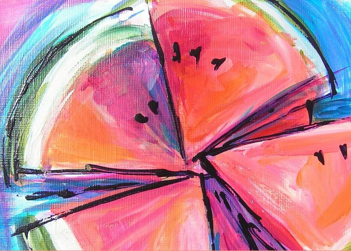 Watermelon Wedges Greeting Card featuring the painting Water Whirled by Judy Rogan