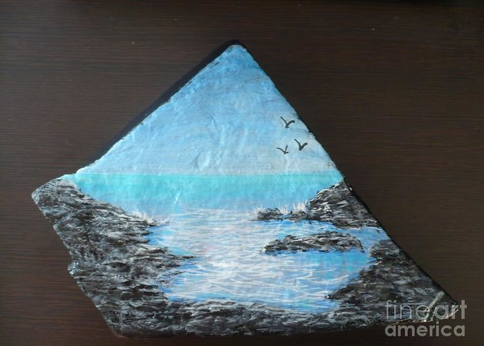 Rock Greeting Card featuring the painting Water With Rocks by Monika Shepherdson