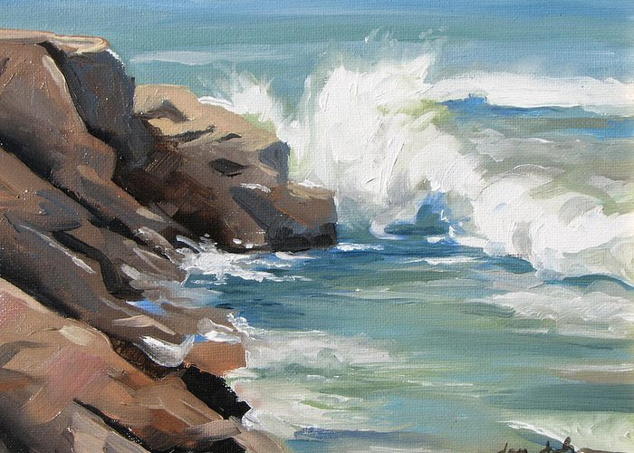 Seascape Greeting Card featuring the painting Water World by Jay Johnson
