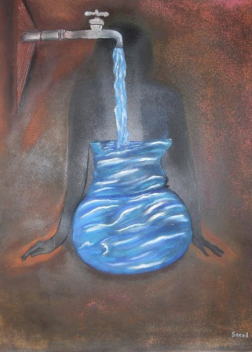 Surrealism Greeting Card featuring the pastel Water Your Soul by Saeed Ghassemlou