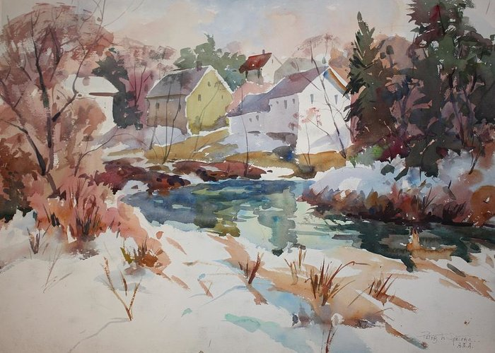 Watercolor Greeting Card featuring the painting Watercolor by Peter Spataro