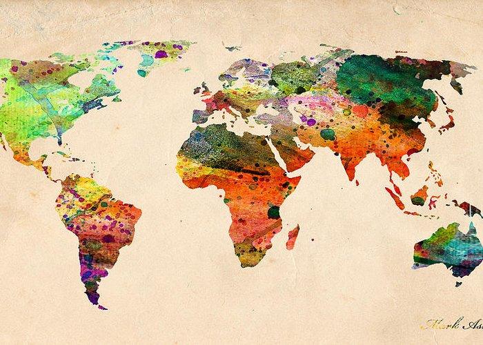 Landmark Greeting Card featuring the digital art Watercolor World Map by Mark Ashkenazi