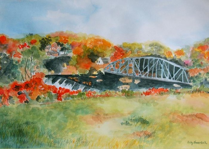 Autumn Colors Greeting Card featuring the painting Waterfall At Old Paper Mill In Saugerties by Judy Swerlick
